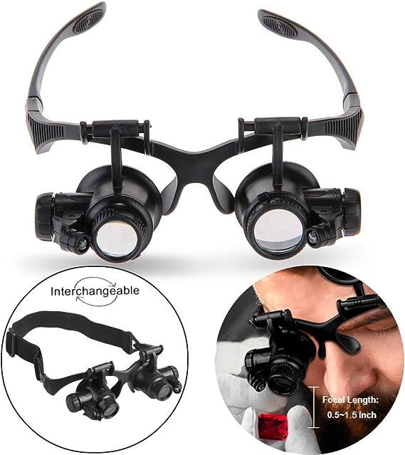 Lupa con Joyas Lupa de Joyero Luz Gafas de Lupa Lupa para Proyectos de Artesan/ías Aserrado Aplicaci/ón Lupa