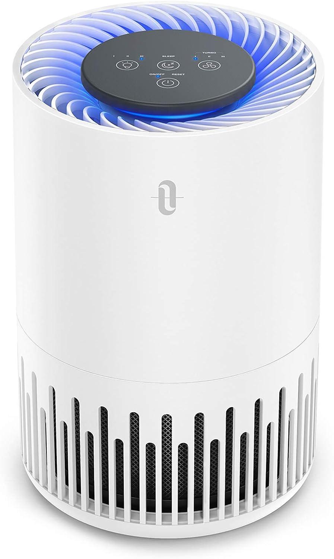 TaoTronics - Purificador de aire TT-AP001 con filtro HEPA 3 en 1, 4 niveles de ventilación, 99,97% de potencia de filtro, funcionamiento silencioso contra el polvo y pelos de animales