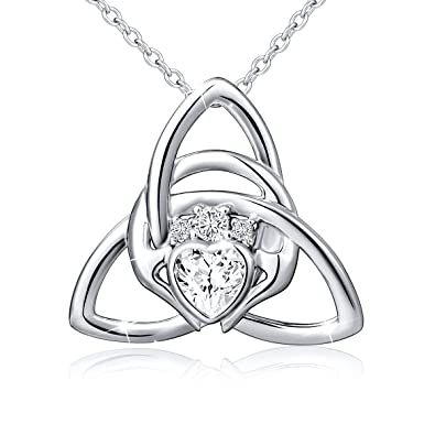 c05d1cfdc80e Amazon.com  925 Sterling Silver Good Luck Irish Claddagh Celtic Knot Love  Heart Pendant Necklace for Women Ladies Birthday Gift