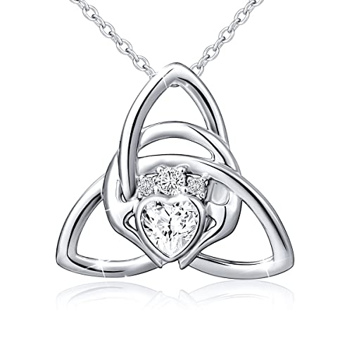 40f75b076bc1f S925 Sterling Silver Irish Claddagh Love by Kelly Hands Holding Crown Heart  Pendant Necklace for Women Surprise Birthday Gifts Bff