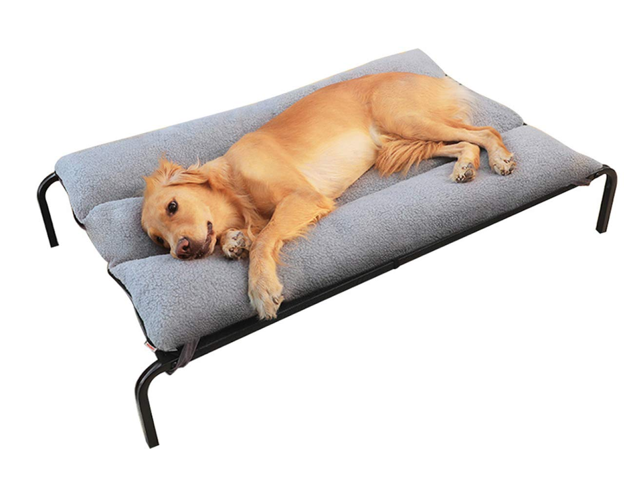 Black XL Black XL Jiaa Steel Frame Camp Bed with Cashmere Pad for Large Dogs