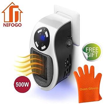 ... Estufa Eléctrica - Portatil Calentador 500 W con Termostato Ajustable Tiempo Programable de 12 Horas Cierre Automático, para Hogar Oficina Baño (White, ...