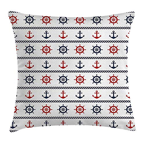 Pillow Cushion Cover, Anchor and Steering Wheel Horizontal Marine Pattern with Rope Style Lines, Decorative Square Accent Pillow Case, 18 X 18 Inches, Navy Blue Red White ()
