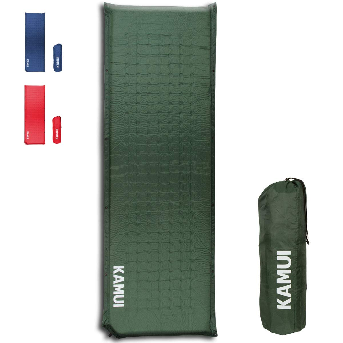 KAMUI Self Inflating Sleeping Pad - 2 Inch Thick Camping Pad Connectable with Multiple Mats for Tent and Family Camping (Green) by KAMUI
