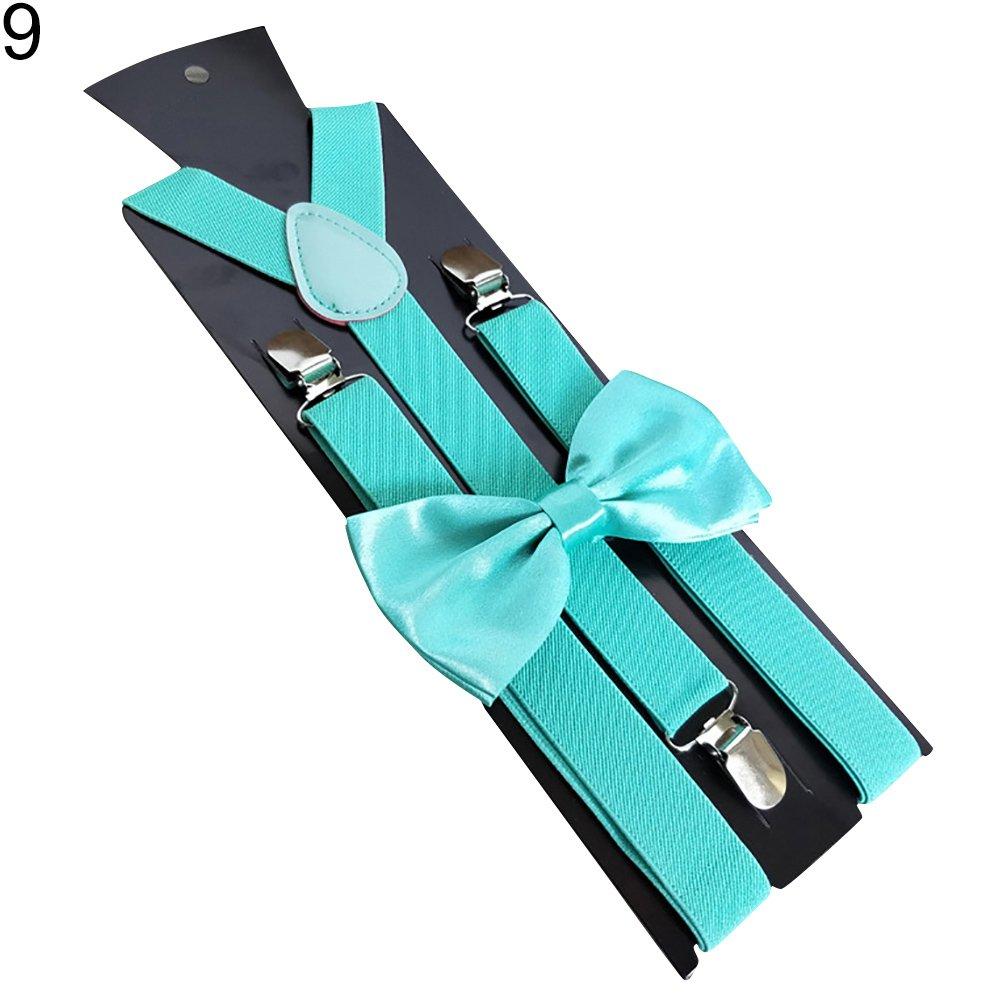 yanbirdfx Solid Color Kids Adult Clip-on Elastic Y-Shape Adjustable Suspenders Bowtie Set - Mint Green