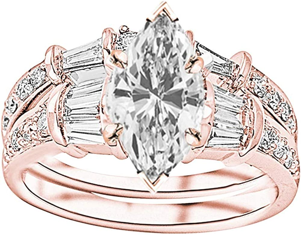 New CZ Engagement Style Ring Sterling Silver Size 6 Gold Plating Round 2.75ctw