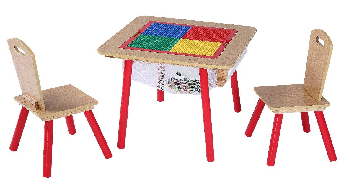 4-in-1 Flip Top Multi-Function Table and Chairs Set with Game Pad for Lego and Building Blocks, Reverses to White Board for Activities, and with Mesh to Hold Toys