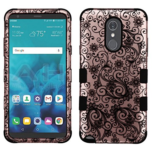 JoJoGold Case for LG Stylo 4 / Stylo 4 Plus/Q Stylus, Design Hybrid, Heavy Duty Hard Cover, Comes with Film Screen Protector - Rose Gold Lace Swirls