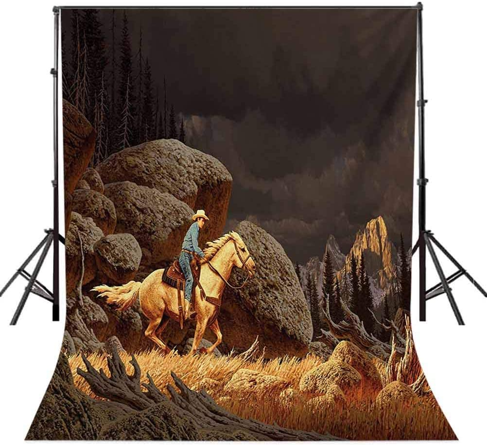 Western 6.5x10 FT Backdrop Photographers,A Rock Mountain Landscape with a Cowboy Riding Horse North America Style Background for Baby Birthday Party Wedding Vinyl Studio Props Photography