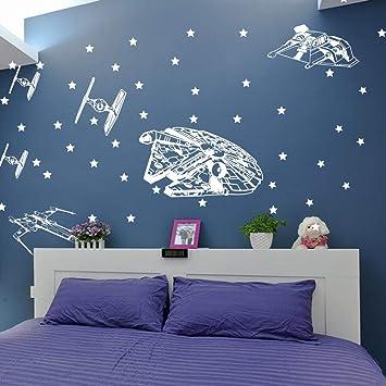 Star Wars Vaisseau Spatial Autocollant Mural Chambre De Garcon Chambre Star Wars Starfighters Star Sticker Chambre Enfant Vie