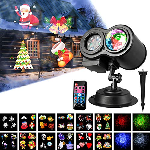 Led Projector Lights, Wave Projector Light with 12 Slides Pattern 2 in 1 Outdoor/Indoor Party Lights Landscape Garden Lighting Projector for Christmas, Halloween, Party with Remote Controller by M SANMERSEN