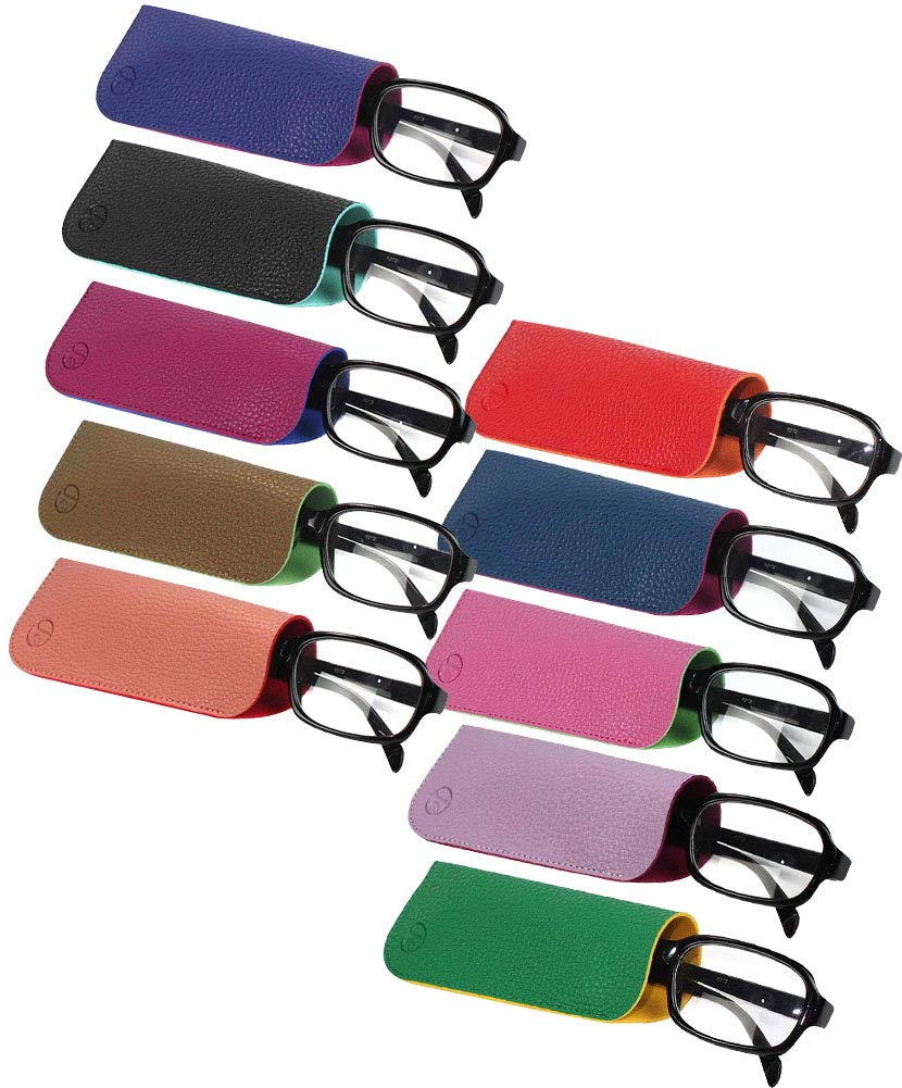[10 PACK], JAVOedge 2 Tone Color Style Soft Pouch Eyeglass Storage Case w/Microfiber Eyeglasses Cloth by JAVOedge