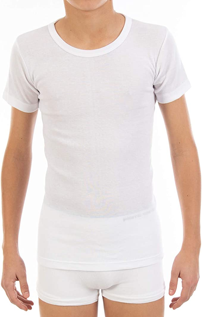 Camiseta Interior de niño L371, de Manga Corta y Cuello Redondo. Pack Ahorro de 6 Unidades de la Misma Talla y Color. Colección Cool Cotton.: Amazon.es: Ropa y accesorios