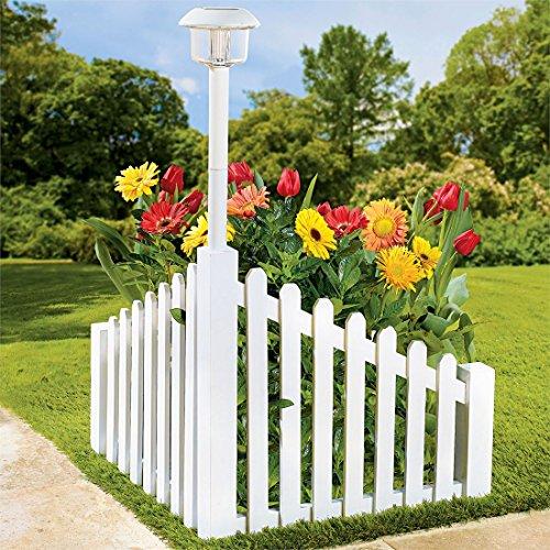 Wood Corner Fence With Solar Light