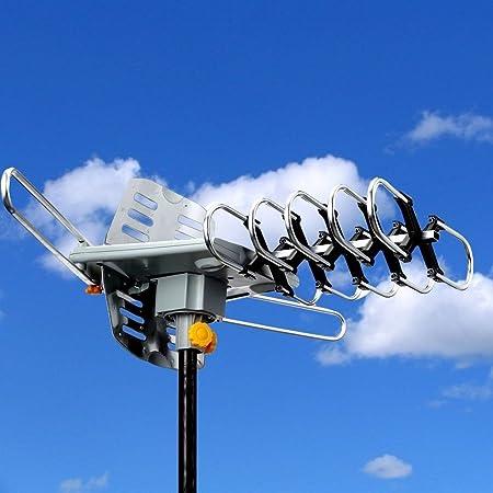 Nuevo HDTV exterior Amplified antena HD TV 36dB mando a distancia de rotación 360 ° UHF/VHF/FM 150 Milla