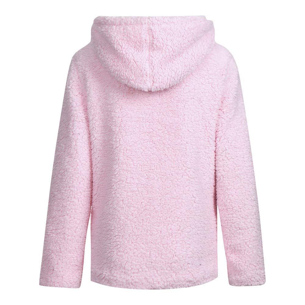 Oasisocean Womens Warm Winter Long Sleeve Hooded Faux Shearling Shaggy Pockets Outerwear Coat Jacket Open Cardigan