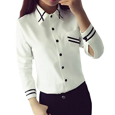 f6ea30048d66 Women s Fashion Elegant Strip Blouses Turn Down Collar Shirt Tops Blouse ...