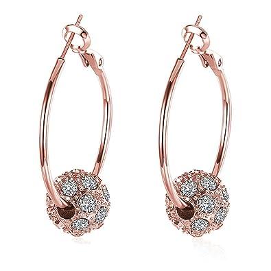 b0ee69ea94b33 BODYA Hypoallergenic Large huggie Hoop Earrings beads with cz crystal  Rhinestone rose/yellow