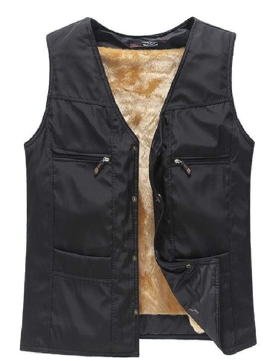 CBTLVSN Mens Fleece V-Neck Thick Sleeveless Coats Waistcoat Vest