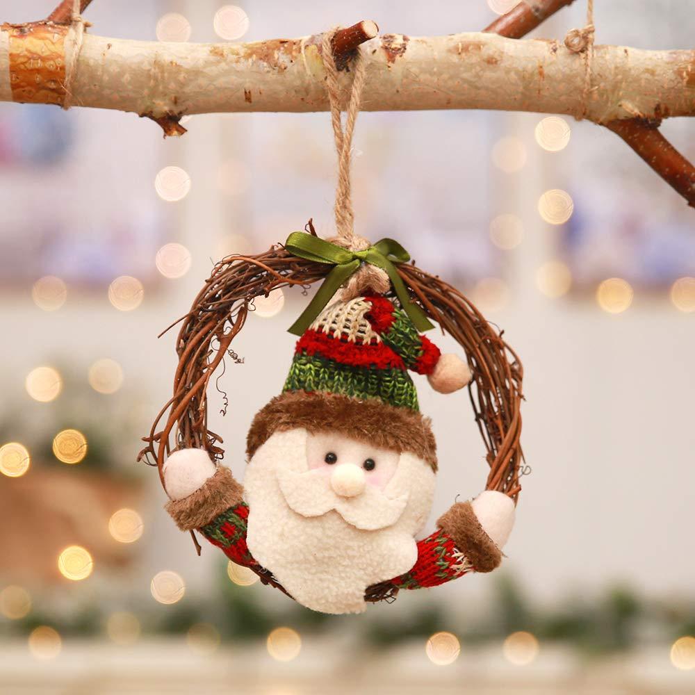 Kesoto 3 PCS Christmas Wreath Rattan Pendant Christmas Tree Pendant Hang Ornament