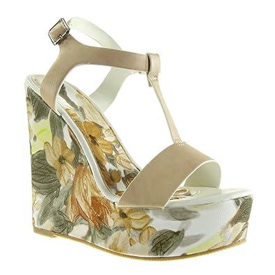 Angkorly Damen Schuhe Sandalen Mule - T-Spange - Plateauschuhe - Blumen Keilabsatz High Heel 13.5 cm - Beige YS-27 T 39 oZO5Ia