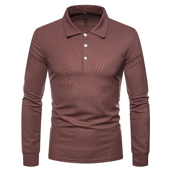 NISHIPANGZI La Ropa del Hombre Simple Camisa Polo Manga Larga ...