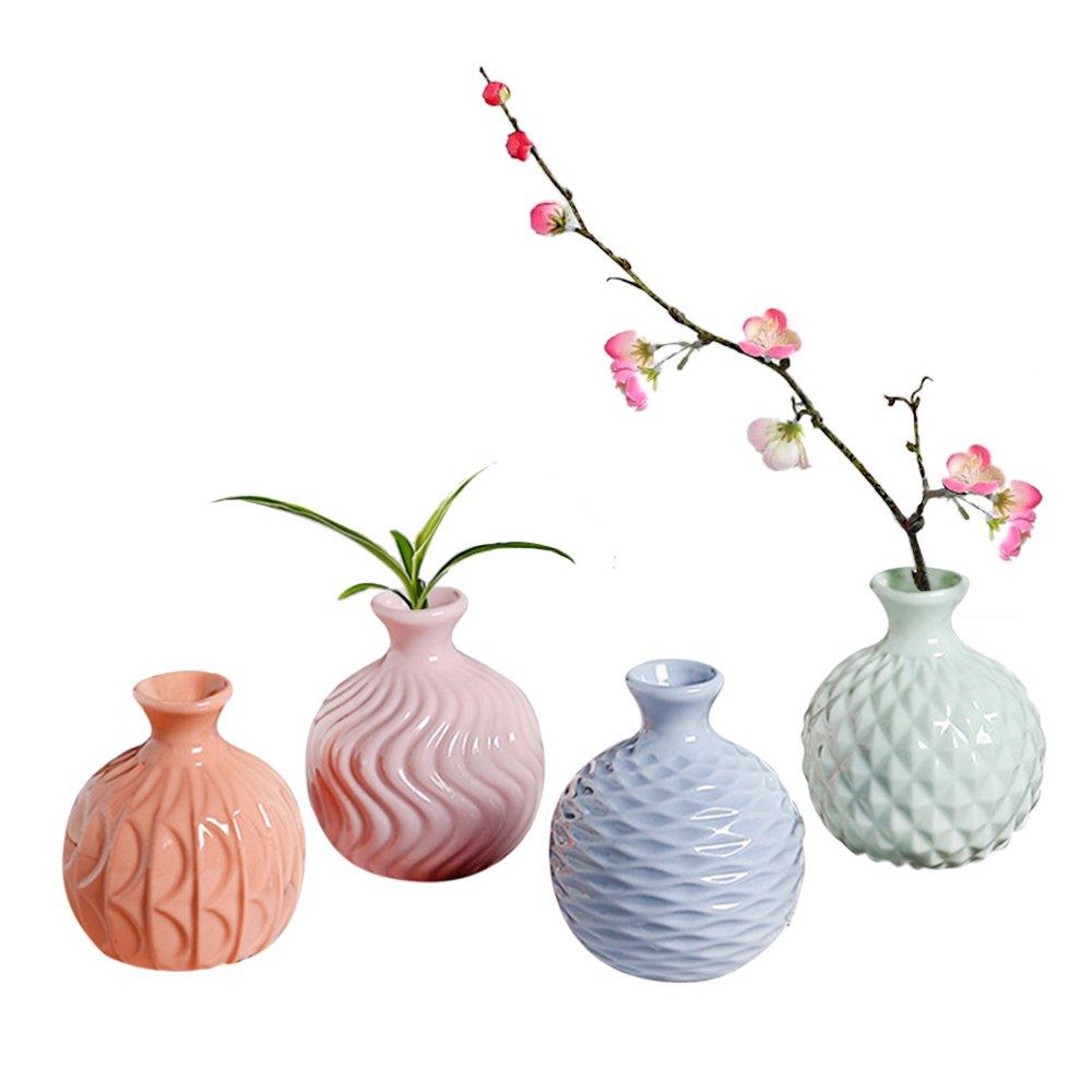 GeLive Ceramic Ikebana Vase, Flower Arrangement, Decorative Bud Hydroponics Container, Reed Diffuser, Colorful 4 Pack