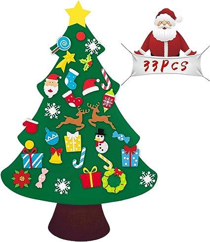 Xmas Gifts for Kids New Year Christmas Wall Hanging Decorations 33pcs Detachable Ornaments DIY Felt Christmas Tree Set