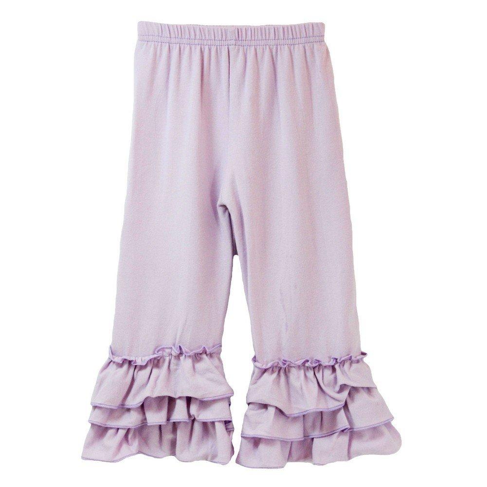 Dress Up Dreams Boutique Little Girls Lavender Triple Tier Waterfall Ruffle Cuff Soft Cotton Pants 3T