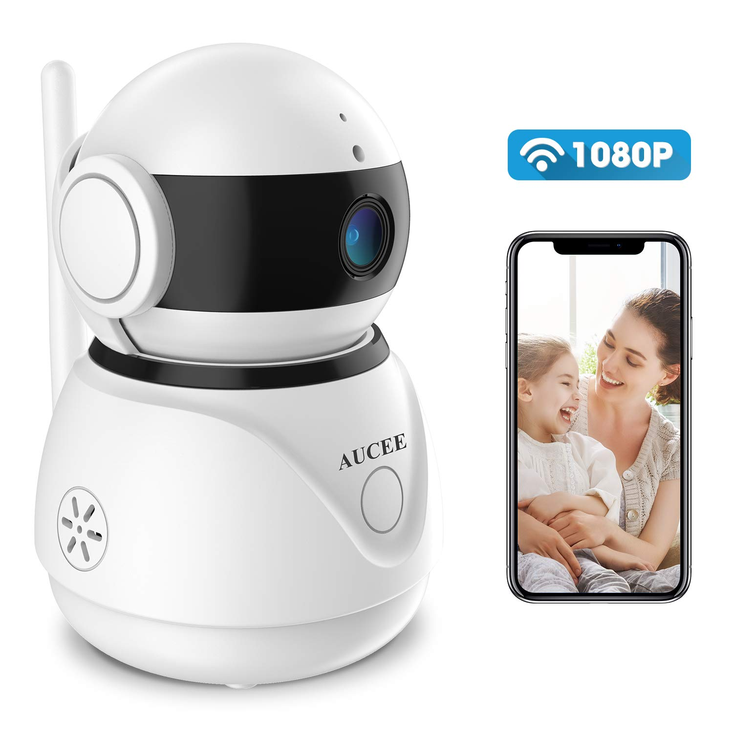 WiFi IP Camera,AUCEE 1080P Baby Monitor Wireless Indoor Security Camera with Night Vision Motion Detection 2-Way Audio Home Security Surveillance Pan/Tilt/Zoom Monitor for Baby/Elder/Pet