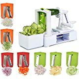 Spiralizer Vegetable Slicer, 7 Blades Vegetable Spiral Slicer with Powerful Suction Base, Veggie Spiralizer Spaghetti Maker for Healthy Low Carb, Gluten-Free Meals with Blades Container