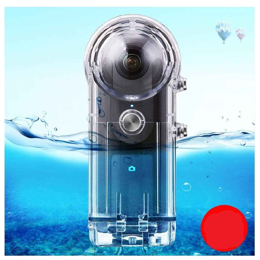 JinJin for Ricoh Theta V 360-Degree Spherical 4K HD Digital Camera 30m Underwater Waterproof Housing Protective Case with Base + Long Screw (Clear) by Jinjin