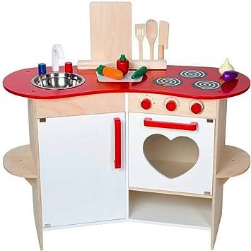 Unbekannt Holz Kinder Küche mit Herz-Design, Zubehör, mit Geräuschen ...