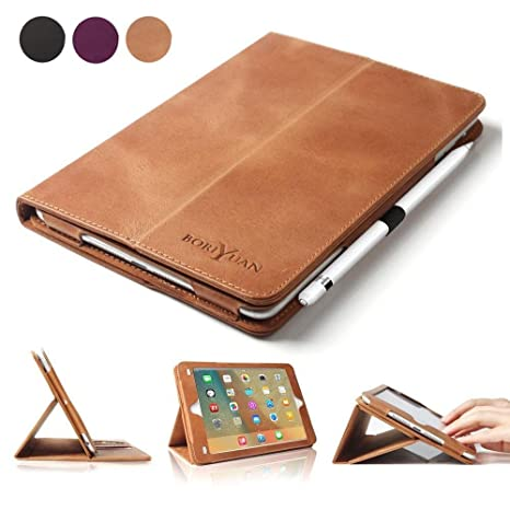promo code 58b01 d238b BoriYuan iPad Pro 9.7 Case, Vintage Genuine Leather Smart Cover Protective  Slim Folio Flip Stand for Apple iPad Pro 9.7 Inch with Card Slot Magnetic  ...