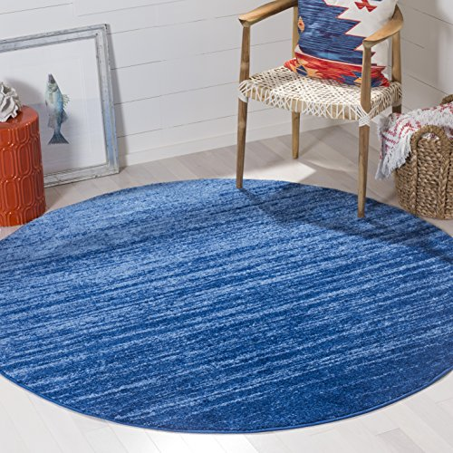 Safavieh Adirondack Collection ADR113F Light Blue and Dark Blue Modern Abstract Round Area Rug (4' Diameter)