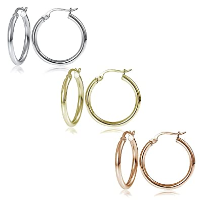 94894ff78 Image Unavailable. Image not available for. Color: Hoops & Loops Sterling  Silver Tri Color 2x20mm Polished Round Hoop Earrings Set of 3