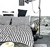 Wake In Cloud - Black White Striped Duvet Cover Set, 100% Cotton Bedding, Golden Love Heart and Vertical Stripes Pattern Printed, with Zipper Closure (3pcs, Queen Size)
