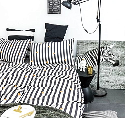 Black White Striped Duvet Cover Set, 100% Cotton Bedding, Go