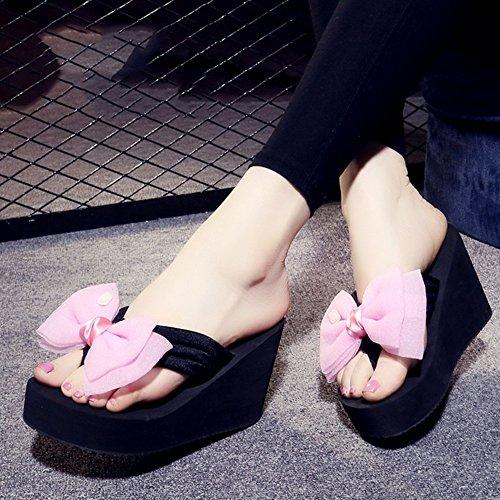 Mujeres Señoras Sandalias Falda de tirón antideslizante del verano femenino de los altos talones de los 9CM Forme las sandalias de la playa por 18-40 años Cómodo ( Color : 1001 , Tamaño : 35 ) 1003