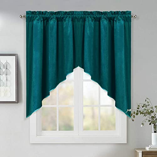 Half Window Kitchen Tier Curtains – Soft Velvet Scalloped Valances Swags with Rod Pocket Stylish Window Dressing Light Blocking Drapes for Basement Guest Room, Teal, W35 x L36 inches, 2 Panels