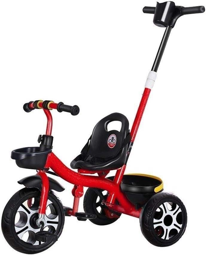 xy Triciclos Triciclo De Tres Ruedas Silla De Paseo con Los Niños Empuje Ciclo De Mango 1-5 Años Empujar La Manija Grow-Head con Altura Ajustable De Empuje Paseo En Triciclo 3 Colores (Color : Red)