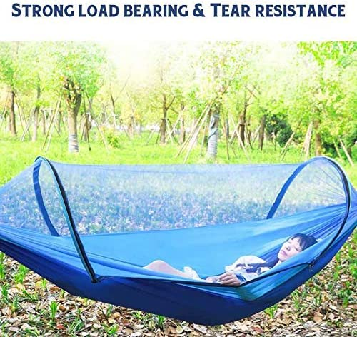 Nologo Hammock Blue 260x150cm Portable Outdoor Mosquito Net Parachute Hammock Camping Hanging Sleeping Bed Swing JFCUICAN