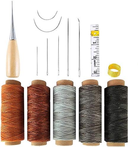 Juego de 15 herramientas de piel para tapicería, agujas de coser a mano con hilo encerado de cuero para manualidades de cuero: Amazon.es: Juguetes y juegos