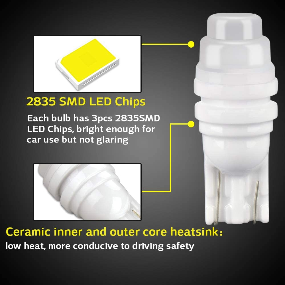 Henlight 20 Pack 2825 W5W Car Interior Replacement Lights Bulbs for Car Dome Parking Side Turn Signal Dsahboard License Number Plate White T10 194 LED Car Interior Light Bulbs