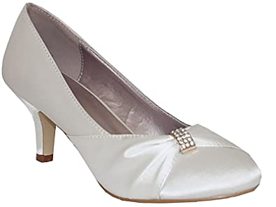 d522722a3ae Ladies Chix Satin Diamante Kitten Heel Low Bridal Wedding Smart Prom Party  Court Shoes Size 3