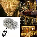 indoor icicle lights led - LED Icicle Lights, YUNLIGHTS 16.5 ft 216 LED Plug in Fairy String Lights, Warm White Curtain Christmas Lights for Bedroom Patio Yard Garden Wedding Party