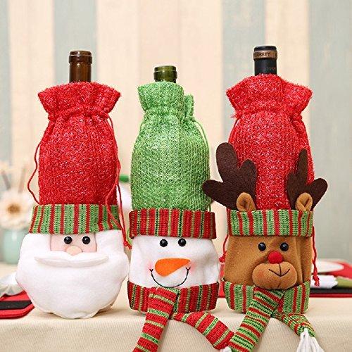 Sudook - Juego de 3 Bolsas para Botellas de Vino de Navidad ...
