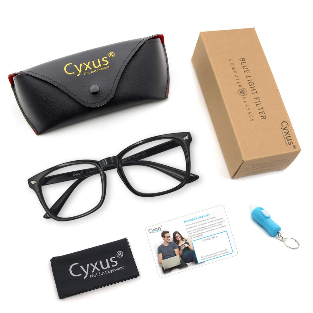 dbbc69cfa8a9 Cyxus Blue Light Filter Computer Glasses for Blocking UV Headache  Anti Eye  Eyestrain  Transparent Lens Gaming Glasses
