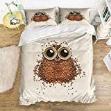 Picture It On Canvas Family Comfort Bed Sheet Owl Coffee 4 Piece Bedding Sets Polyester Duvet Cover HypoallergenicOversized Bedspread,Twin Size