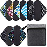 NiceEbag 8pcs Set 1pc Wet Dry Bag Cloth Diaper Bag + 7pcs 8 Inch Regular Charcoal Bamboo Mama Cloth/ Menstrual Pads/ Reusable Sanitary Napkin Pads/ Baby Diapers Nappy (8 Inch)